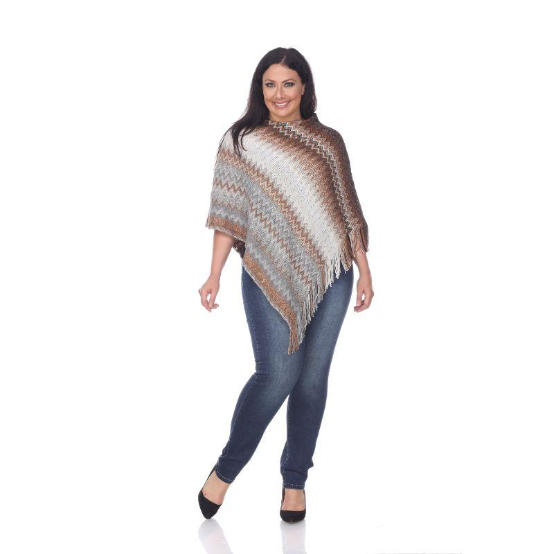 Women's Mesila' Fringe Poncho By White Mark-Brown-One Size Plus Size-Daily Steals