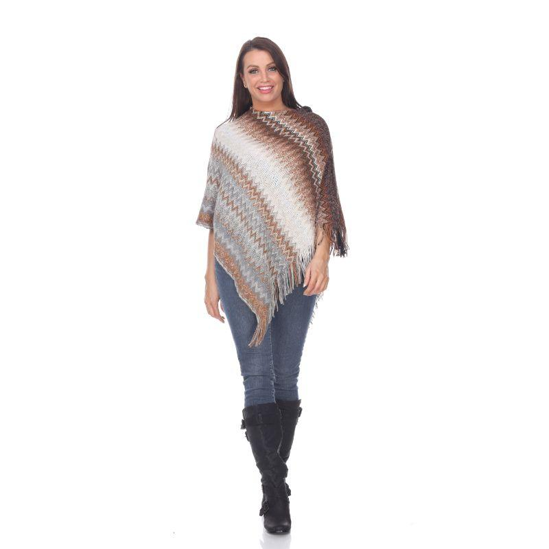 Women's Mesila' Fringe Poncho By White Mark-Brown-One Size Regular-Daily Steals