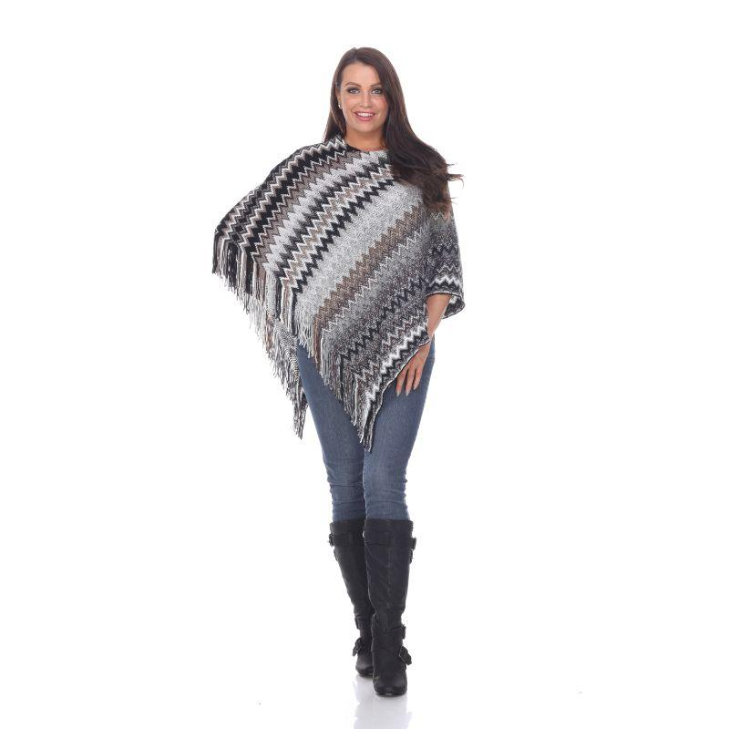 Women's Mesila' Fringe Poncho By White Mark-Grey-One Size Regular-Daily Steals