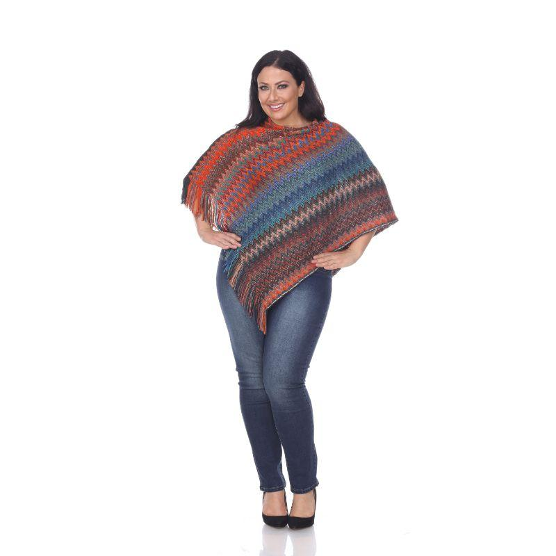 Women's Mesila' Fringe Poncho By White Mark-Orange Blue-One Size Plus Size-Daily Steals