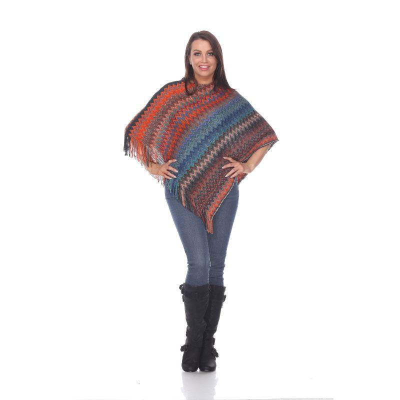 Women's Mesila' Fringe Poncho By White Mark-Orange Blue-One Size Regular-Daily Steals