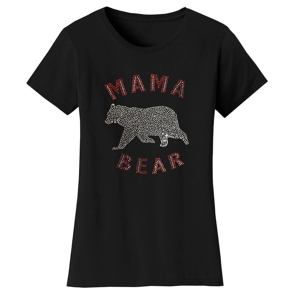Daily Steals-Women's Mother's Day Rhinestone Bling T-shirts-Women's Apparel-S-Mama Bear Animal - Black-