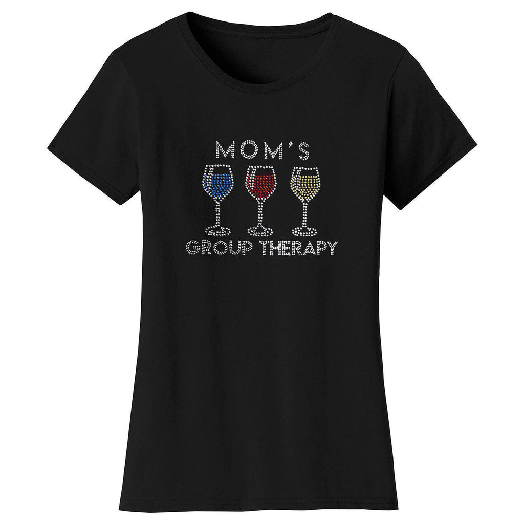 Daily Steals-Women's Mother's Day Rhinestone Bling T-shirts-Women's Apparel-S-Mom's Group Therapy - Black-