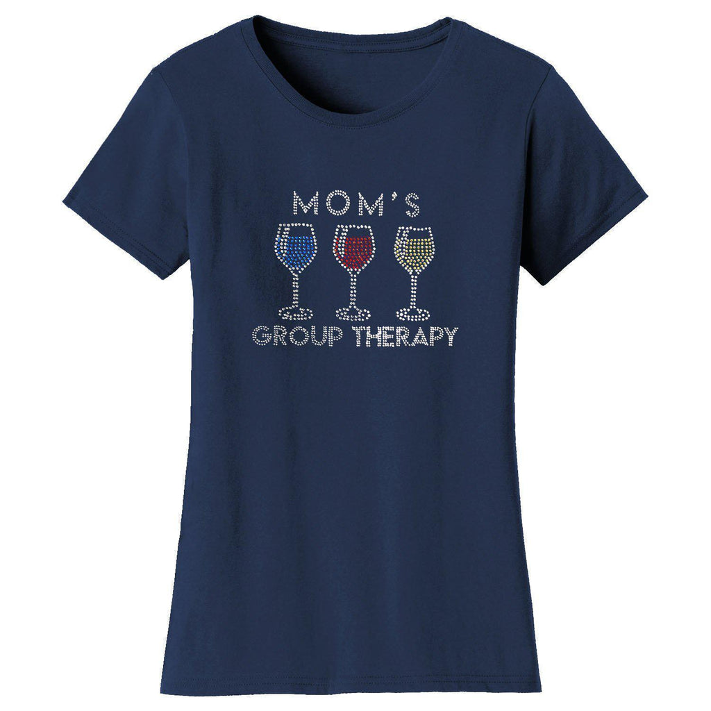 Daily Steals-Women's Mother's Day Rhinestone Bling T-shirts-Women's Apparel-S-Mom's Group Therapy - Navy-