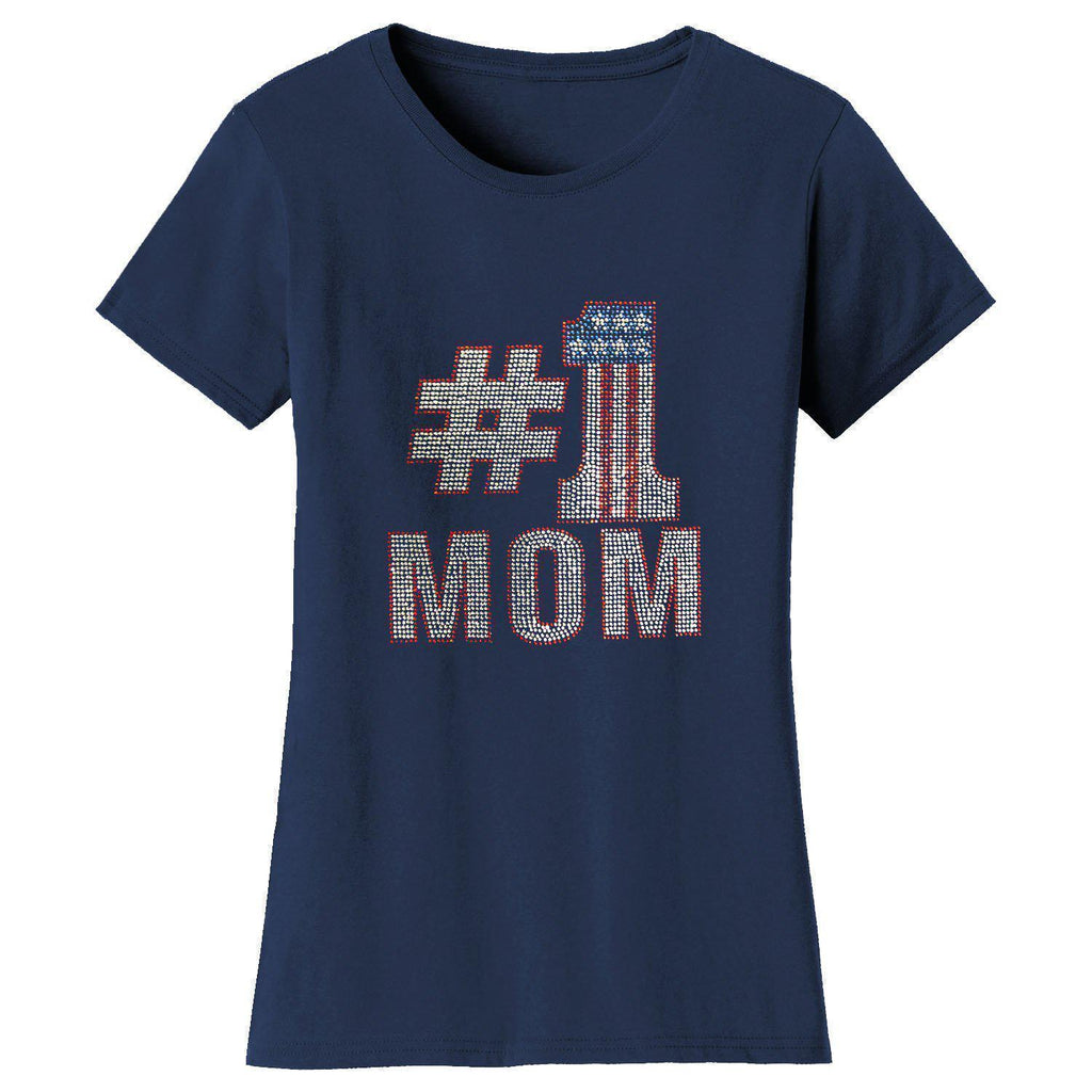 Daily Steals-Women's Mother's Day Rhinestone Bling T-shirts-Women's Apparel-S-NO 1 Mom - Navy-