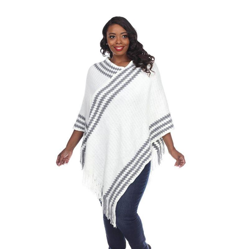 Women's Nevaeh Poncho By White Mark-White-One Size Plus Size-Daily Steals