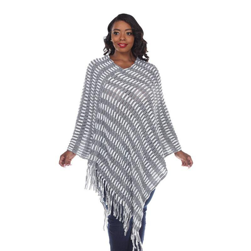Women's Nixie Poncho By White Mark-Gray-One Size Plus Size-Daily Steals
