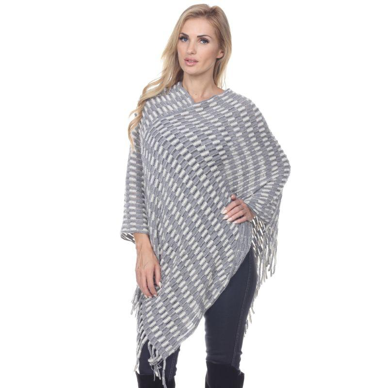 Women's Nixie Poncho By White Mark-Gray-One Size Regular-Daily Steals