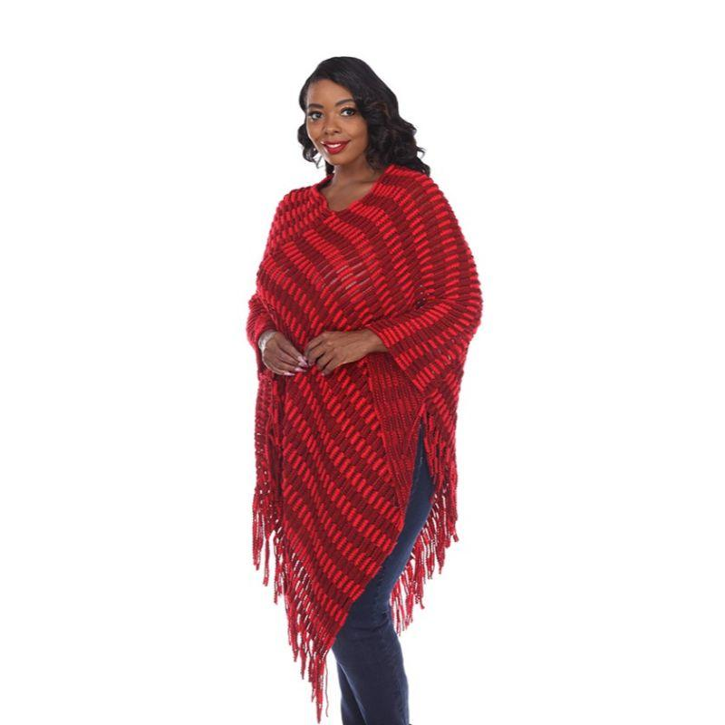Women's Nixie Poncho By White Mark-Red-One Size Plus Size-Daily Steals