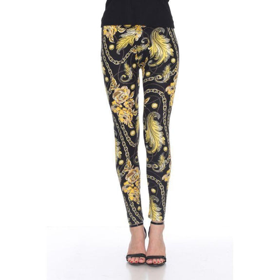 Women's One Size Fits Most Printed Leggings by Whitemark-Black/Gold-Daily Steals