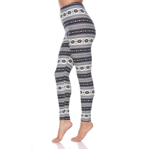 Women's One Size Fits Most Printed Leggings by Whitemark-Black/Grey-Daily Steals