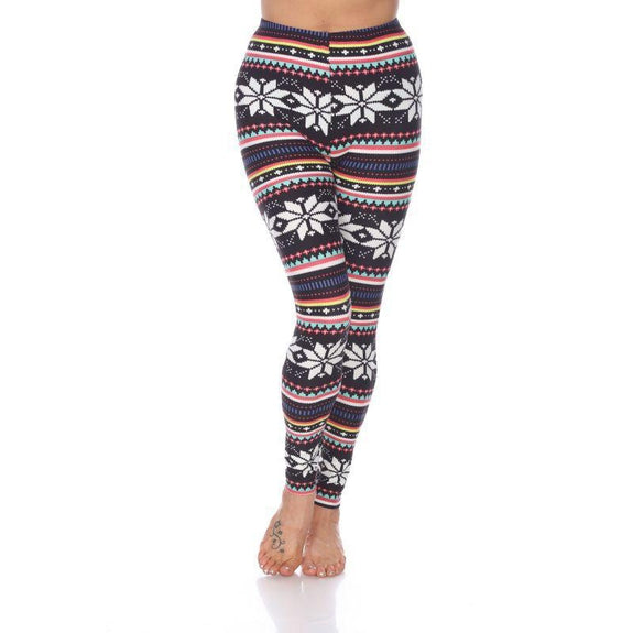 Women's One Size Fits Most Printed Leggings by Whitemark-Black/Multi-Daily Steals