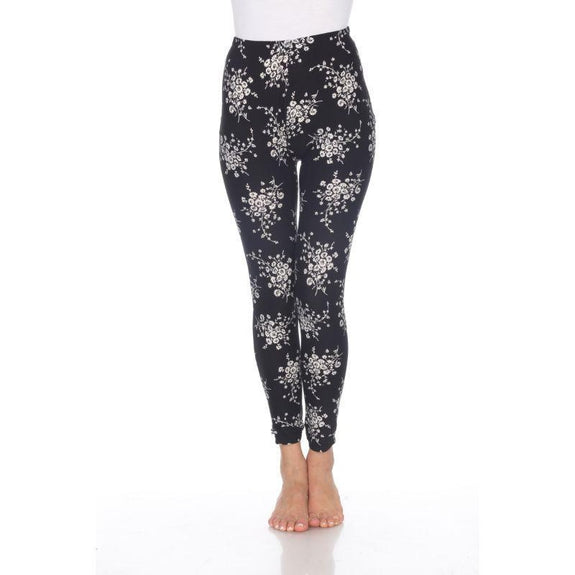Women's One Size Fits Most Printed Leggings by Whitemark-Black/White Daisey-Daily Steals