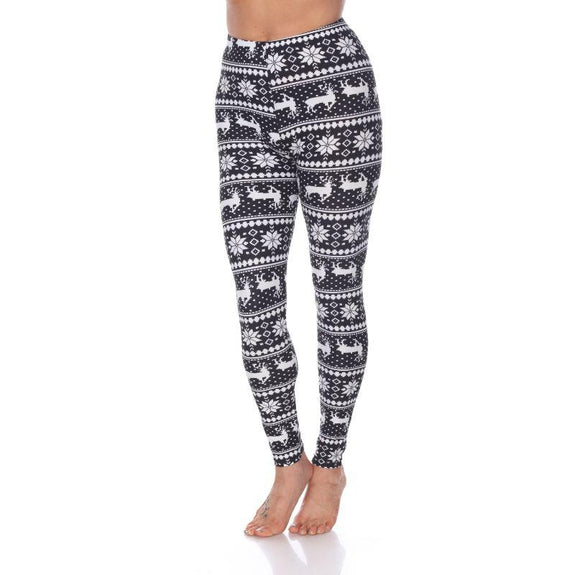 Women's One Size Fits Most Printed Leggings by Whitemark-Black/White Multi-Daily Steals