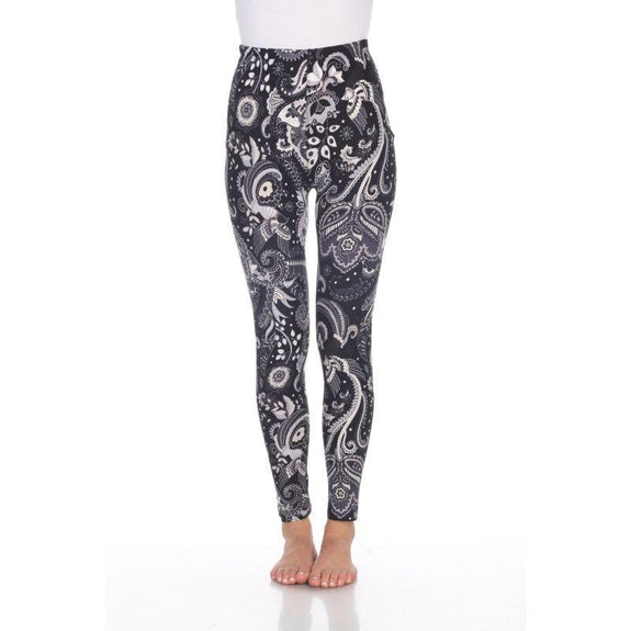 Women's One Size Fits Most Printed Leggings by Whitemark-Black/White Paisley-Daily Steals