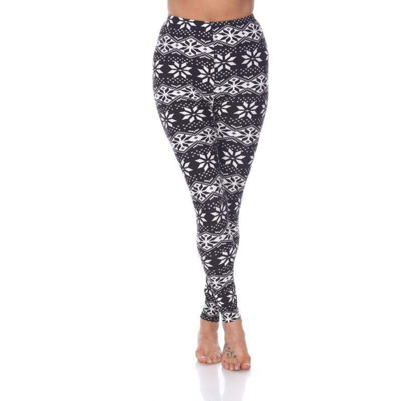 Women's One Size Fits Most Printed Leggings by Whitemark-Black/White Star-Daily Steals