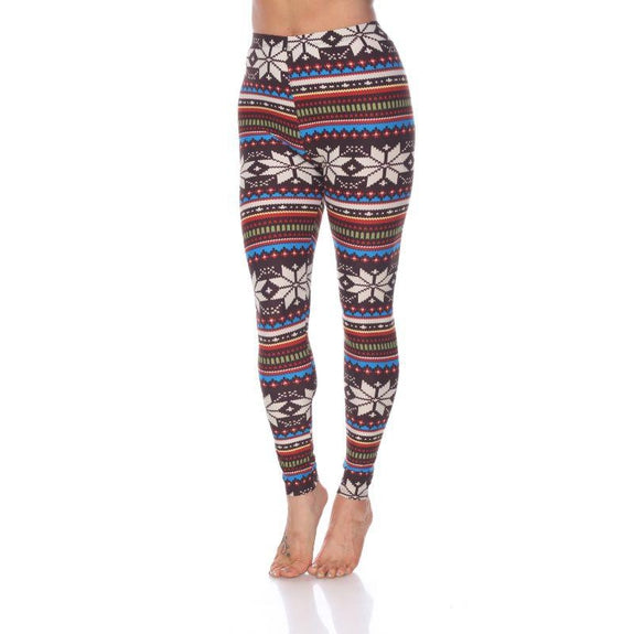 Women's One Size Fits Most Printed Leggings by Whitemark-Brown/Multi-Daily Steals