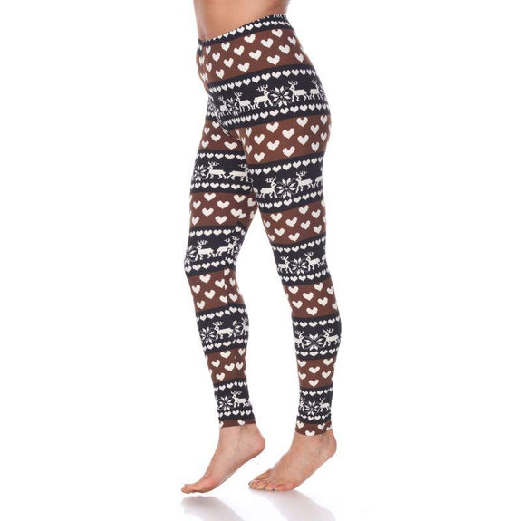 Women's One Size Fits Most Printed Leggings by Whitemark-Brown/White-Daily Steals