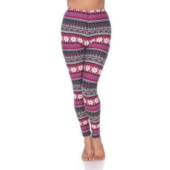 Women's One Size Fits Most Printed Leggings by Whitemark-Burgundy-Daily Steals