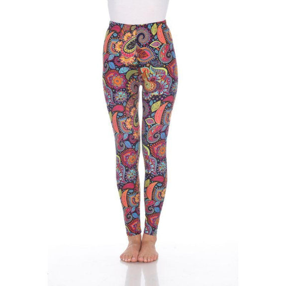 Women's One Size Fits Most Printed Leggings by Whitemark-Colorful Paisley-Daily Steals