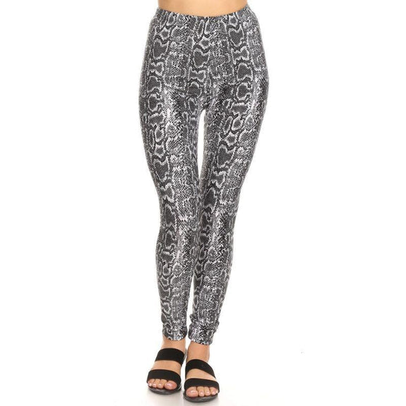 Women's One Size Fits Most Printed Leggings by Whitemark-Grey Snake-Daily Steals