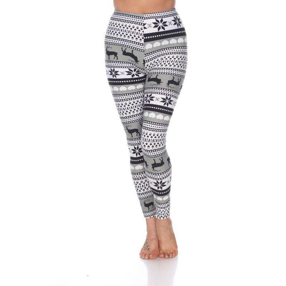 Women's One Size Fits Most Printed Leggings by Whitemark-Grey/White-Daily Steals