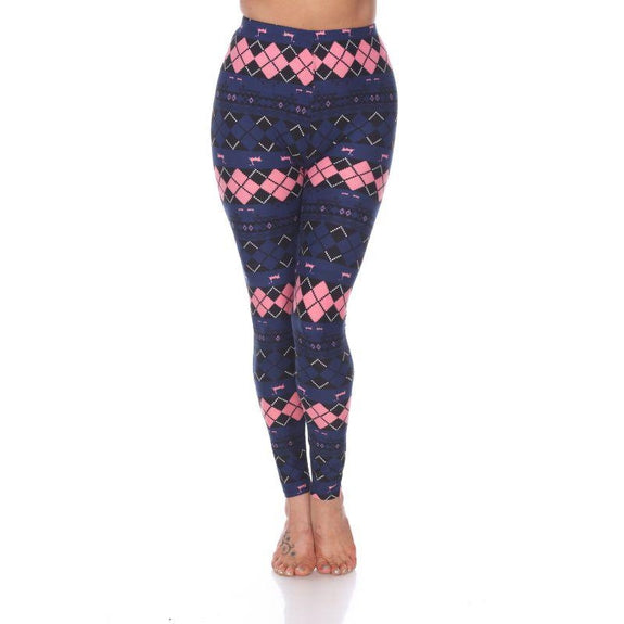 Women's One Size Fits Most Printed Leggings by Whitemark-Navy /Pink Argyle-Daily Steals