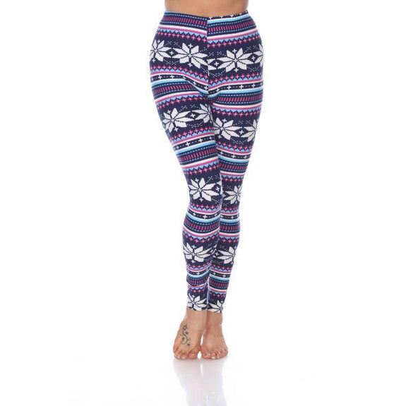 Women's One Size Fits Most Printed Leggings by Whitemark-Navy/Fuchsia-Daily Steals