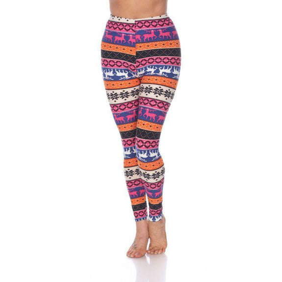 Women's One Size Fits Most Printed Leggings by Whitemark-Orange/Fuchsia-Daily Steals