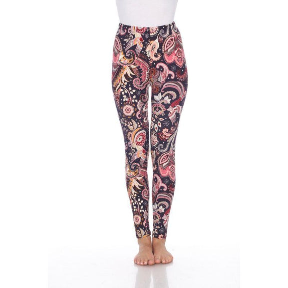 Women's One Size Fits Most Printed Leggings by Whitemark-Purple/Fuchsia Paisley-Daily Steals