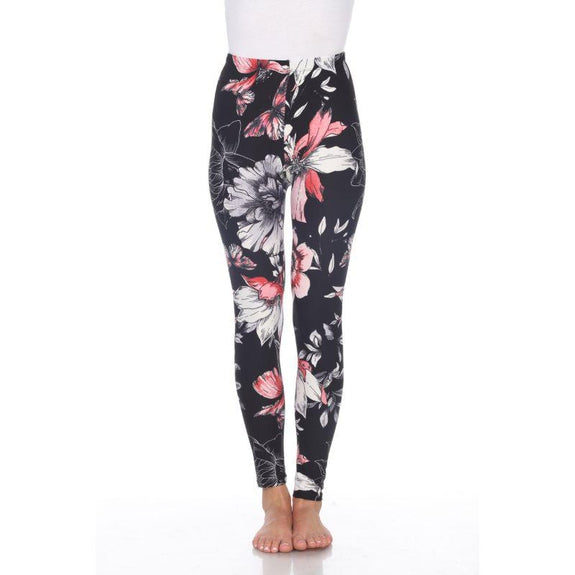Women's One Size Fits Most Printed Leggings by Whitemark-White/Coral/Black-Daily Steals