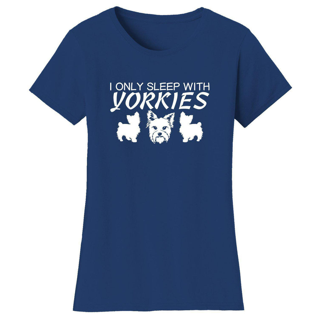Daily Steals-Women's Only Sleep with Dogs Humor T-Shirts-Women's Apparel-Medium-Yorkies - Navy-