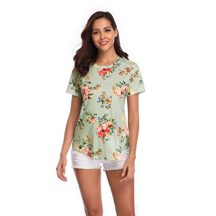 Daily Steals-Women's Pastel Flower Print Top-Women's Apparel-Green-Large-