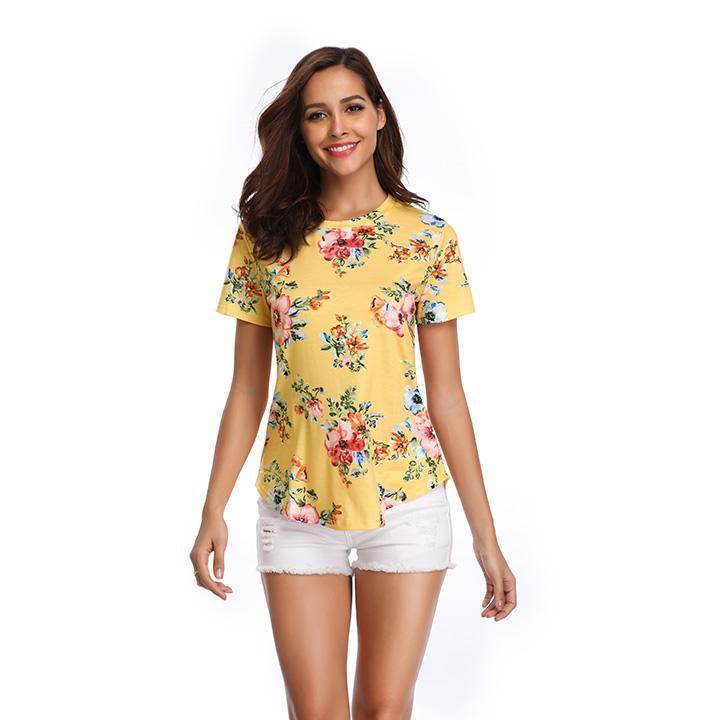 Daily Steals-Women's Pastel Flower Print Top-Women's Apparel-Yellow-Large-