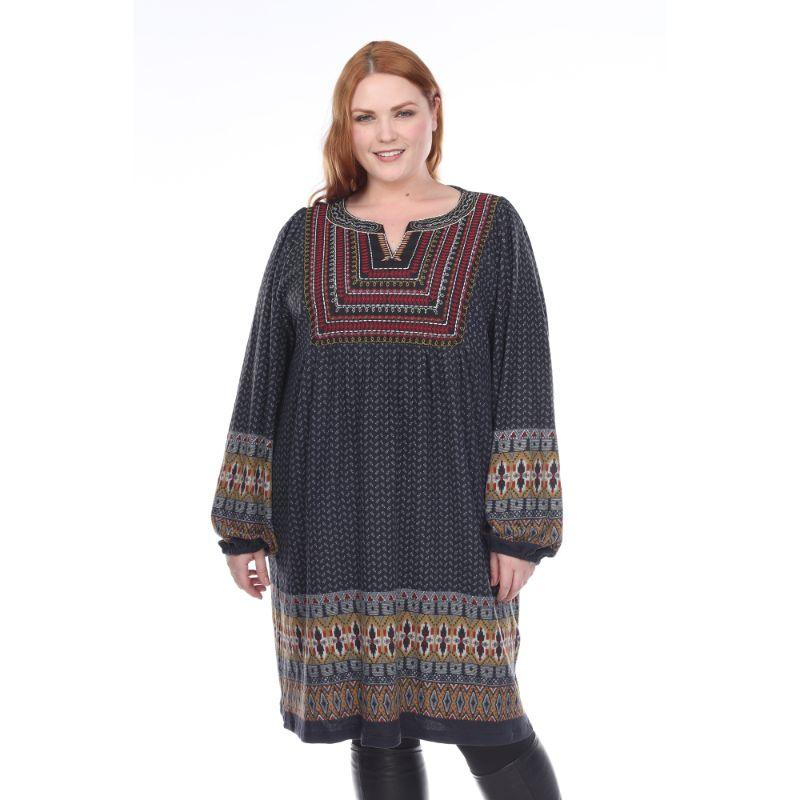 Women's Plus Size Atarah Embroidered Sweater Dress by Whitemark-Grey-1X-Daily Steals