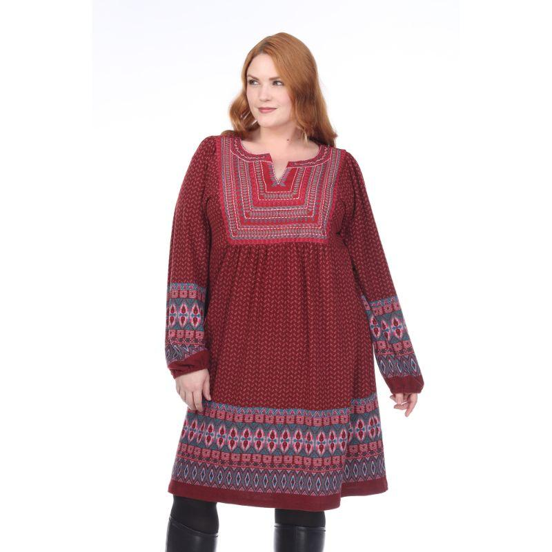 Women's Plus Size Atarah Embroidered Sweater Dress by Whitemark-Red-4X-Daily Steals