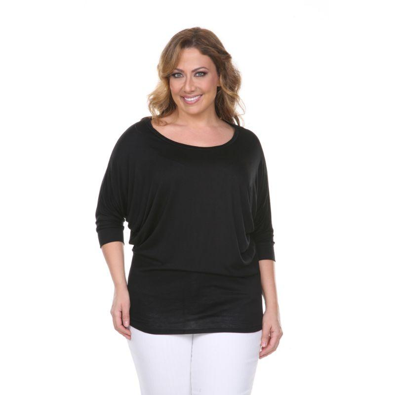 Women's Plus Size Bat Sleeve Tunic Top by Whitemark-Black-1X-Daily Steals