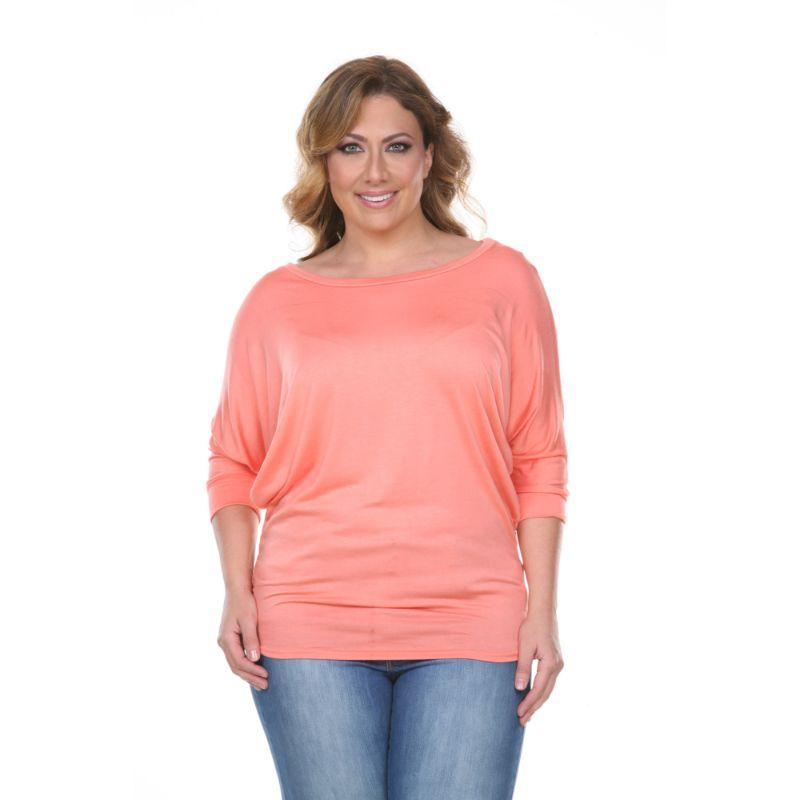 Women's Plus Size Bat Sleeve Tunic Top by Whitemark-Coral-3X-Daily Steals