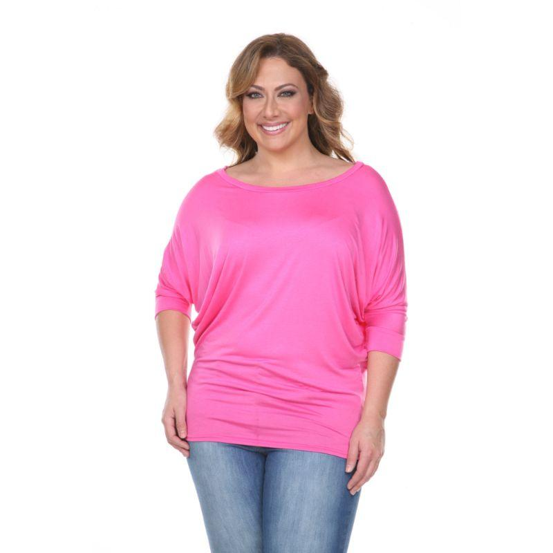Women's Plus Size Bat Sleeve Tunic Top by Whitemark-Fuchsia-1X-Daily Steals