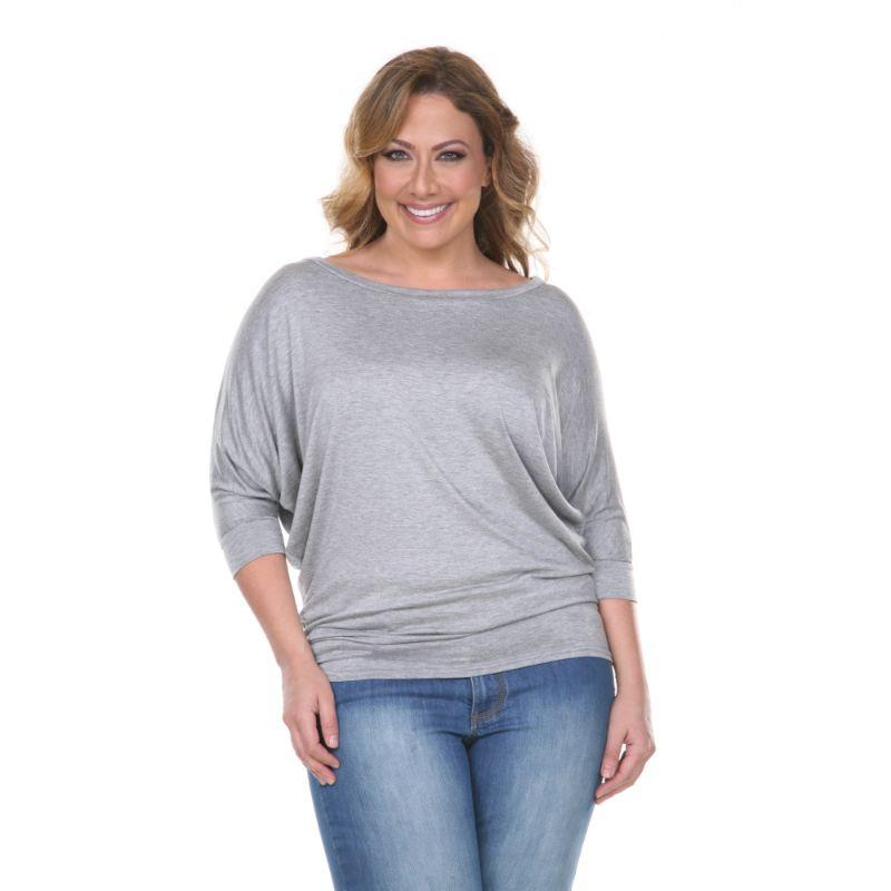 Women's Plus Size Bat Sleeve Tunic Top by Whitemark-Gray-1X-Daily Steals