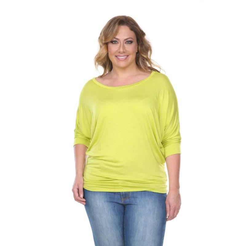 Women's Plus Size Bat Sleeve Tunic Top by Whitemark-Lime-2X-Daily Steals