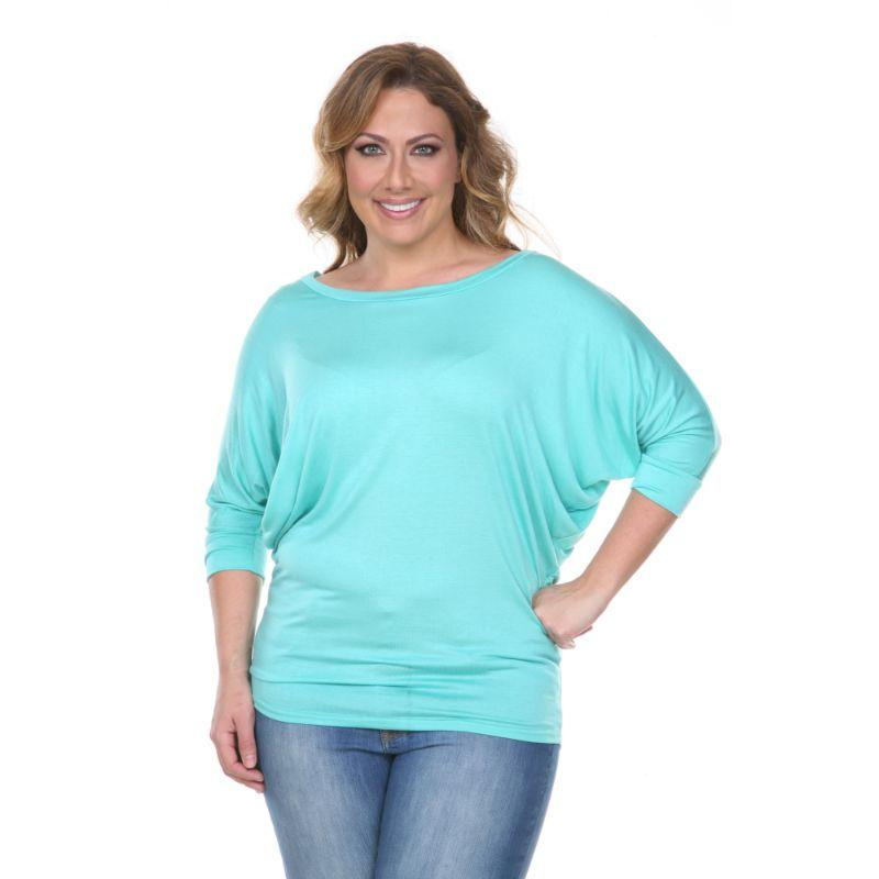 Women's Plus Size Bat Sleeve Tunic Top by Whitemark-Mint-3X-Daily Steals