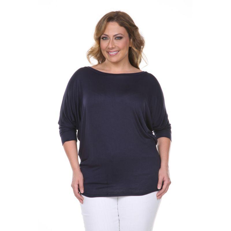 Women's Plus Size Bat Sleeve Tunic Top by Whitemark-Navy-2X-Daily Steals