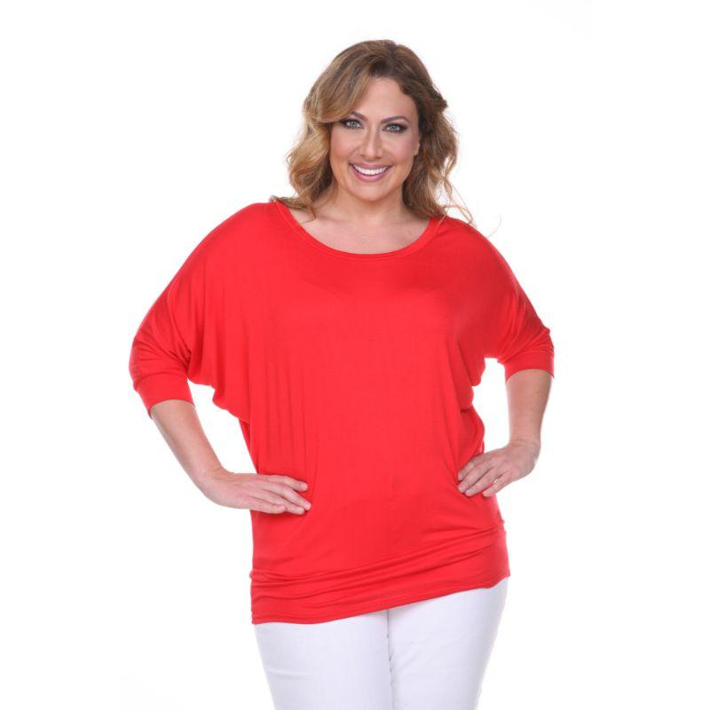 Women's Plus Size Bat Sleeve Tunic Top by Whitemark-Red-3X-Daily Steals