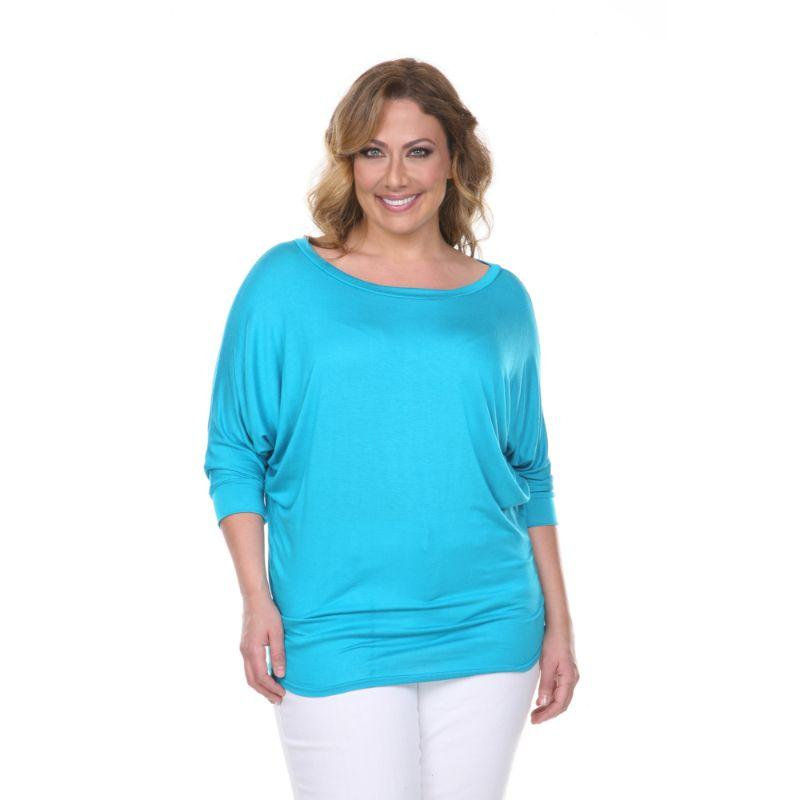 Women's Plus Size Bat Sleeve Tunic Top by Whitemark-Teal-1X-Daily Steals