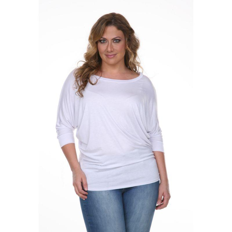 Women's Plus Size Bat Sleeve Tunic Top by Whitemark-White-3X-Daily Steals