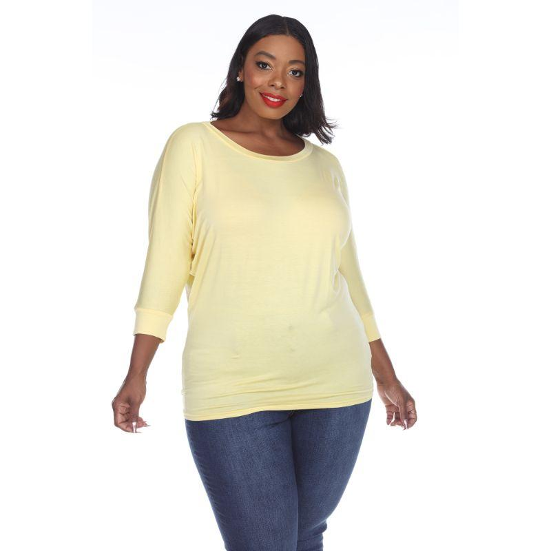 Women's Plus Size Bat Sleeve Tunic Top by Whitemark-Yellow-3X-Daily Steals
