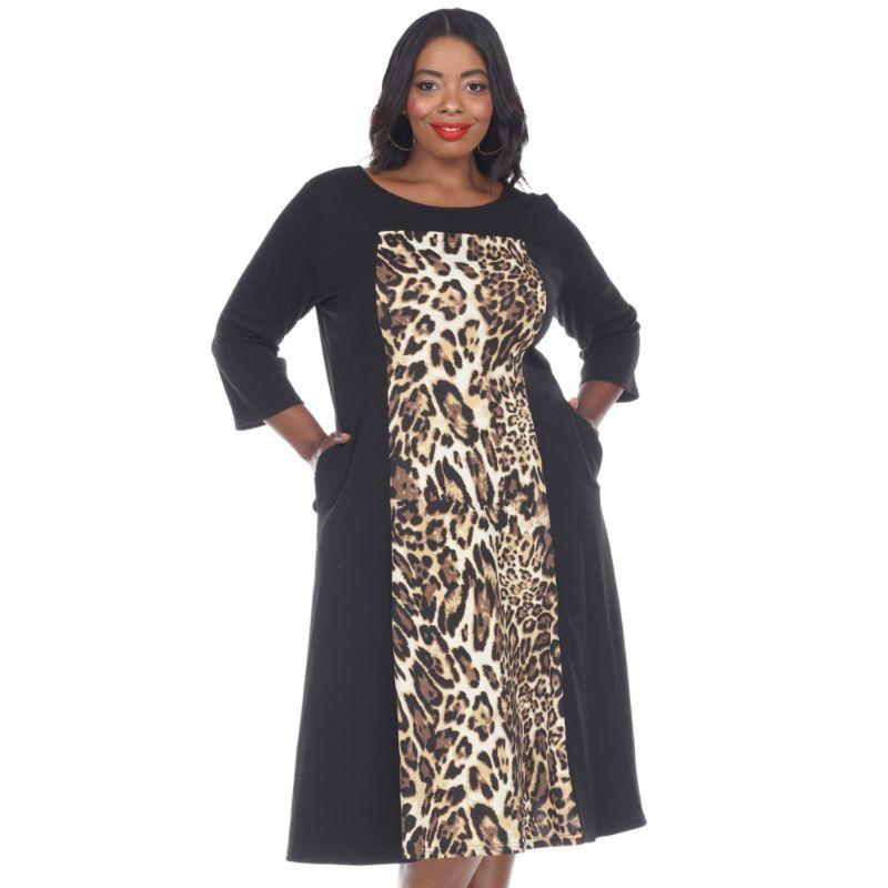 Women's Plus Size 'Constance' Midi Dress by Whitemark-Brown Tiger-1X-Daily Steals
