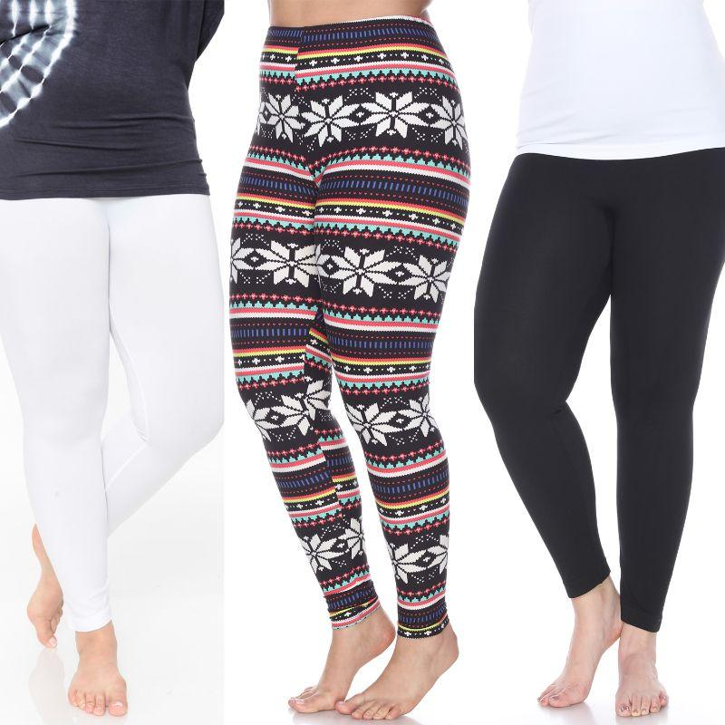 Women's Plus Size Everyday Leggings by Whitemark - 3 Pack-Black, Navy, Black/Multi-Daily Steals