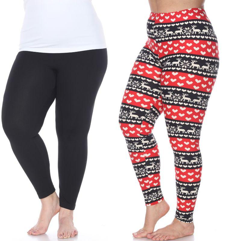 Women's Plus Size Everyday Leggings by Whitemark - 3 Pack-Black, Red/White-Daily Steals